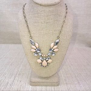 J. Crew Statement Necklace Pink & Crystal